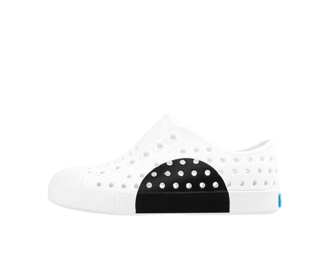 Native Jefferson Block Shell White/Black Circle-Tassel Children Shoes