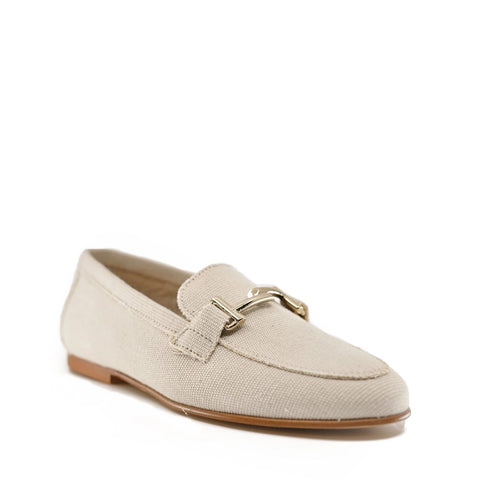 Hoo Beige Linen Loafer-Tassel Children Shoes