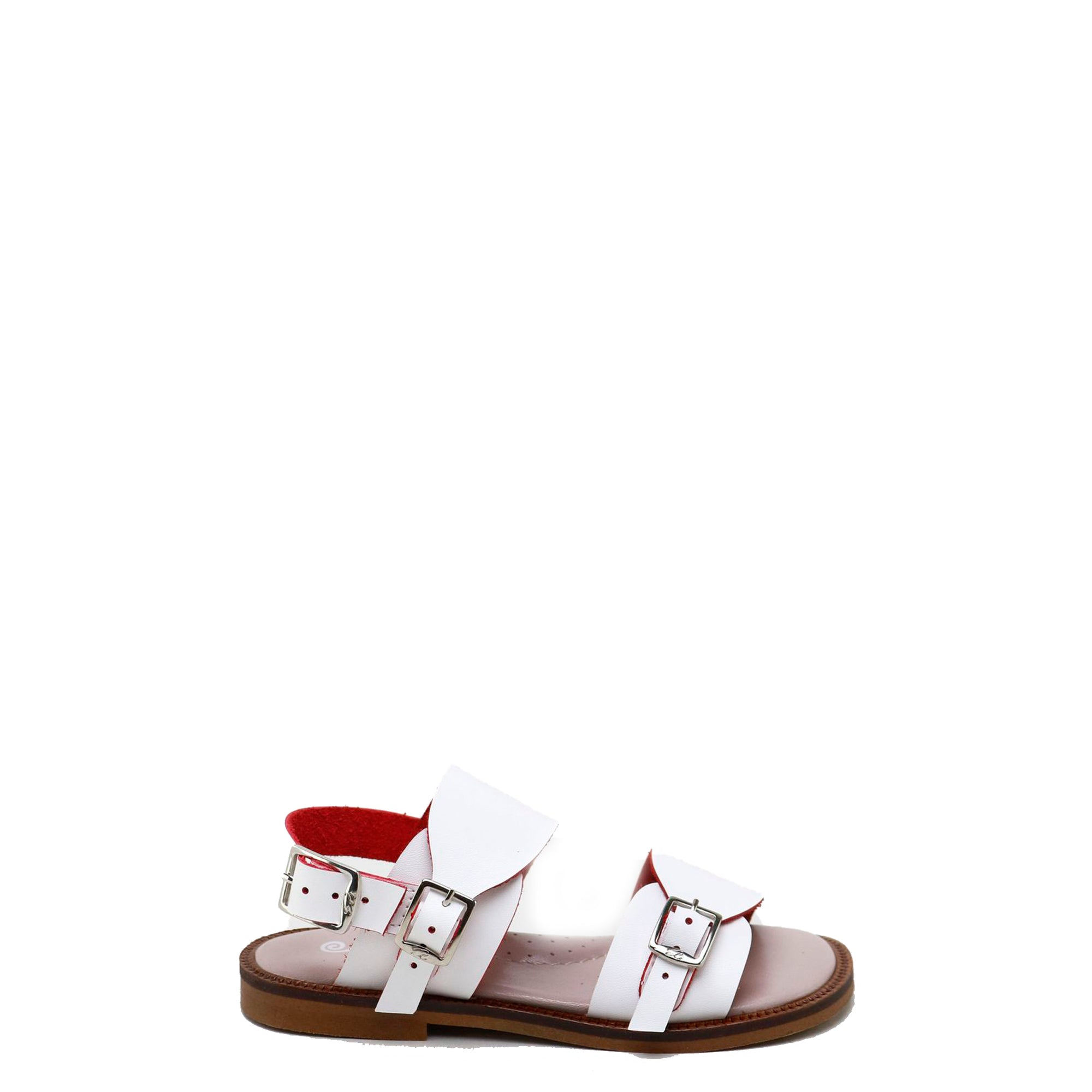 Papanatas Red and White Buckle Sandal-Tassel Children Shoes