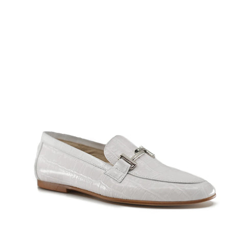 Hoo White Crocodile Leather Loafer-Tassel Children Shoes