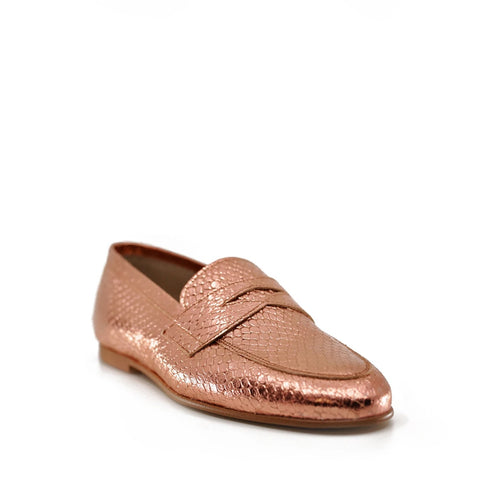 Hoo Rose Gold Metallic Penny Loafer-Tassel Children Shoes