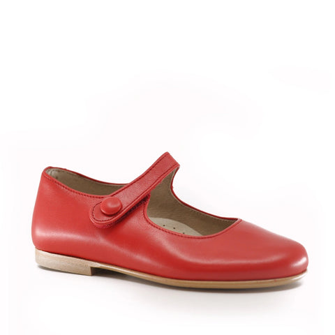 Hoo Red Leather Mary Jane-Tassel Children Shoes