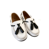 Atlanta Mocassin White and Black Tassel Loafer-Tassel Children Shoes