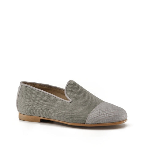 Hoo Gray Linen Smoking Shoe-Tassel Children Shoes