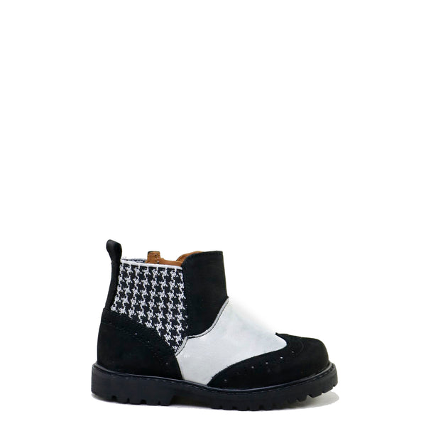 Papanatas Black and White Wingtip Bootie-Tassel Children Shoes
