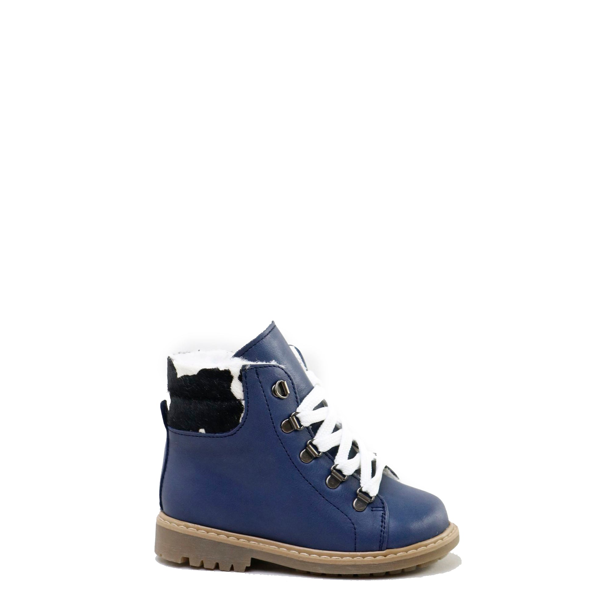 Papanatas Navy Leather and White Fur Lace-Up Bootie-Tassel Children Shoes