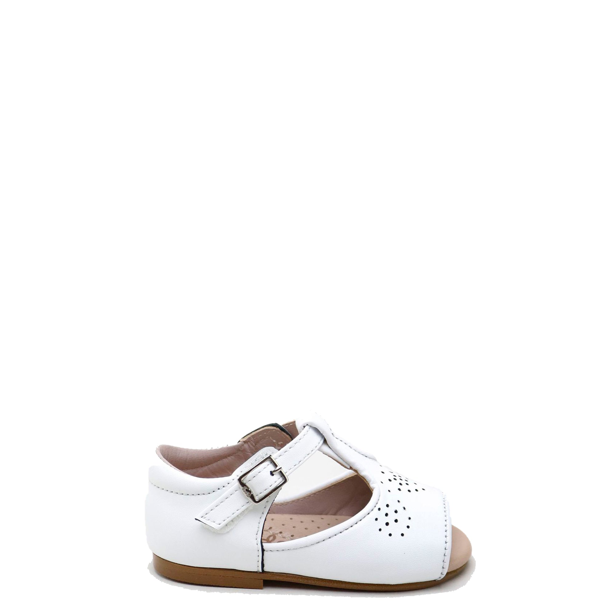 Papanatas White Perforated T-Strap Sandal-Tassel Children Shoes