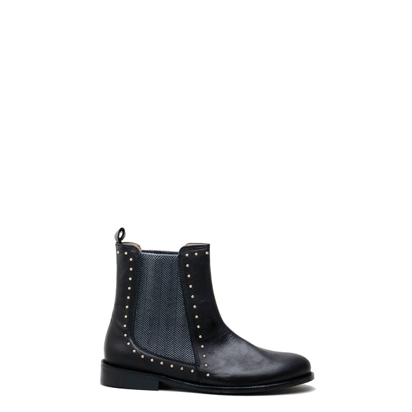 Papanatas Black Studded Boot-Tassel Children Shoes