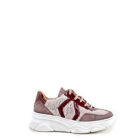 Papanatas Burgundy Leather and Shearling Contrast Sneaker-Tassel Children Shoes