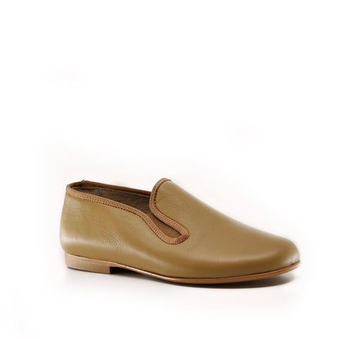 Hoo Taupe Smoking Loafer-Tassel Children Shoes