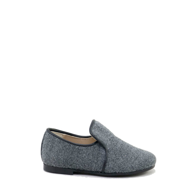 Papanatas Gray Wool Smoking Loafer-Tassel Children Shoes