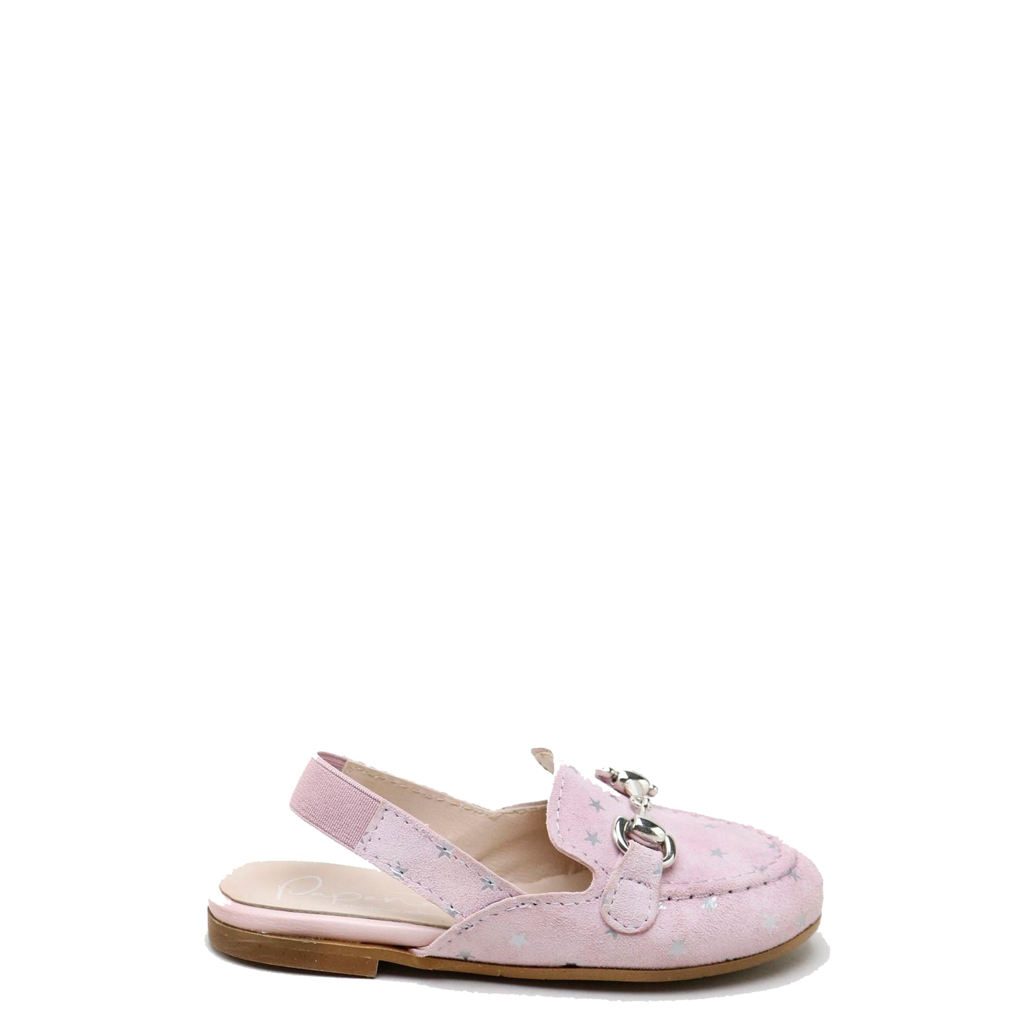 Papanatas Pink and Silver Star Mule-Tassel Children Shoes