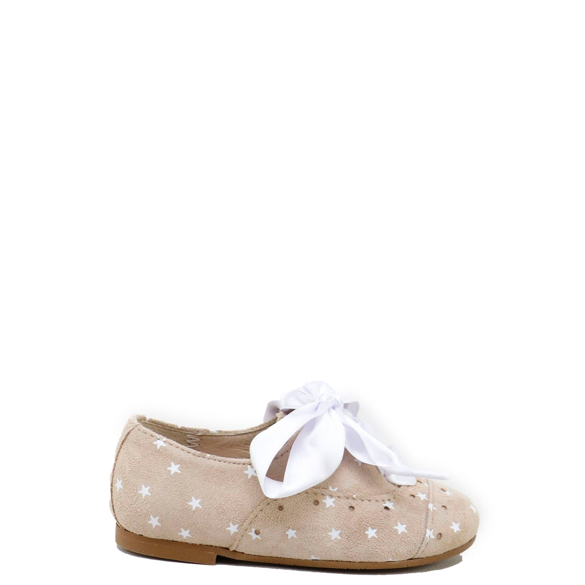 Papanatas Beige Star Lace Up Oxford-Tassel Children Shoes