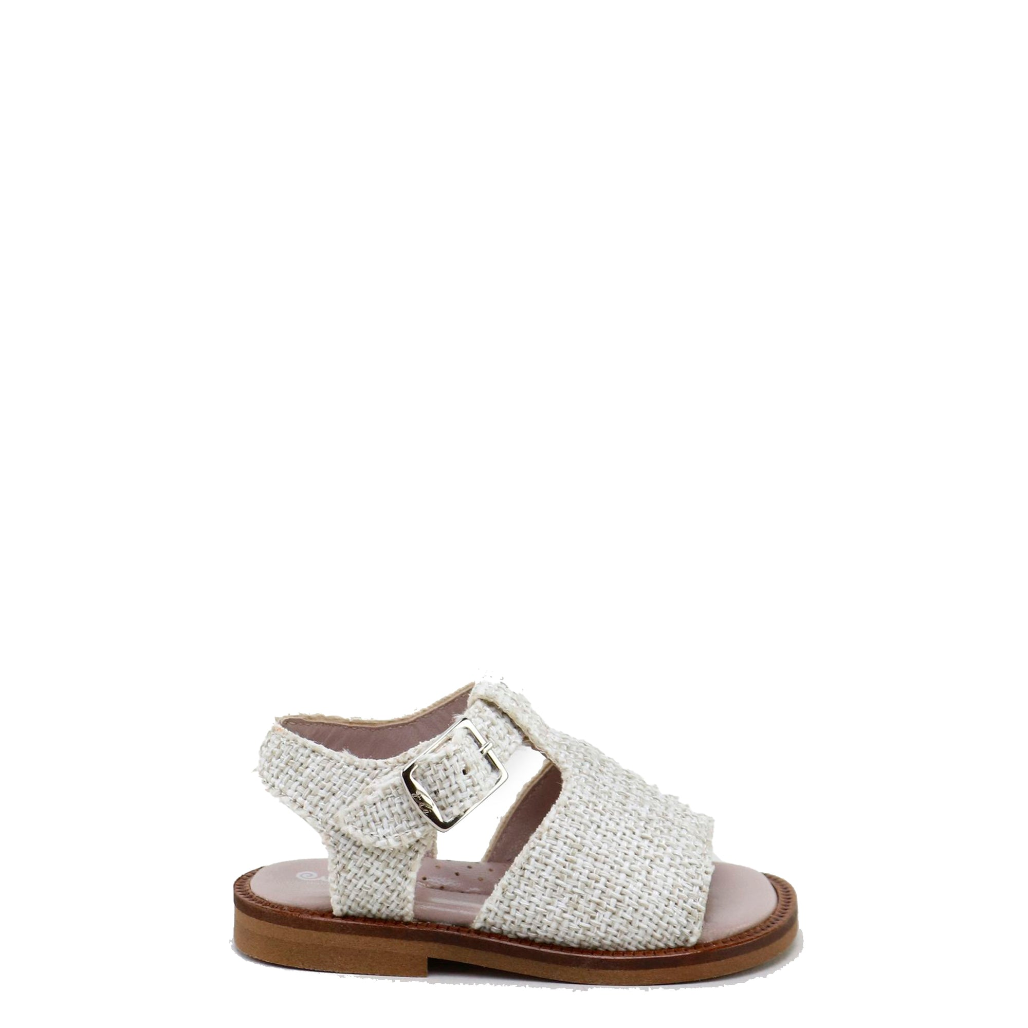 Papanatas Taupe Linen T-Strap Sandal-Tassel Children Shoes