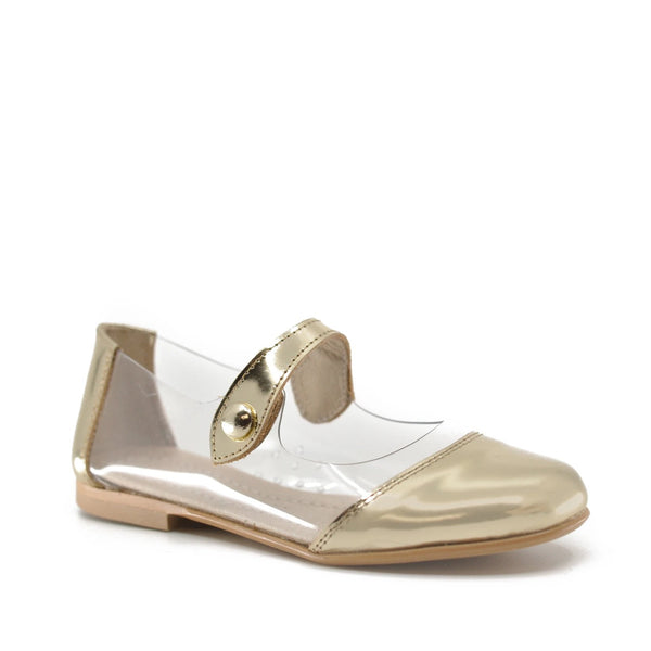 Hoo PVC and Gold Metal Mary Jane-Tassel Children Shoes