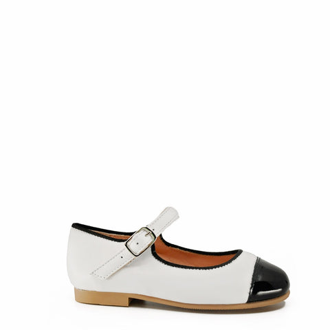 Ruth White and Black Mary Jane-Tassel Children Shoes