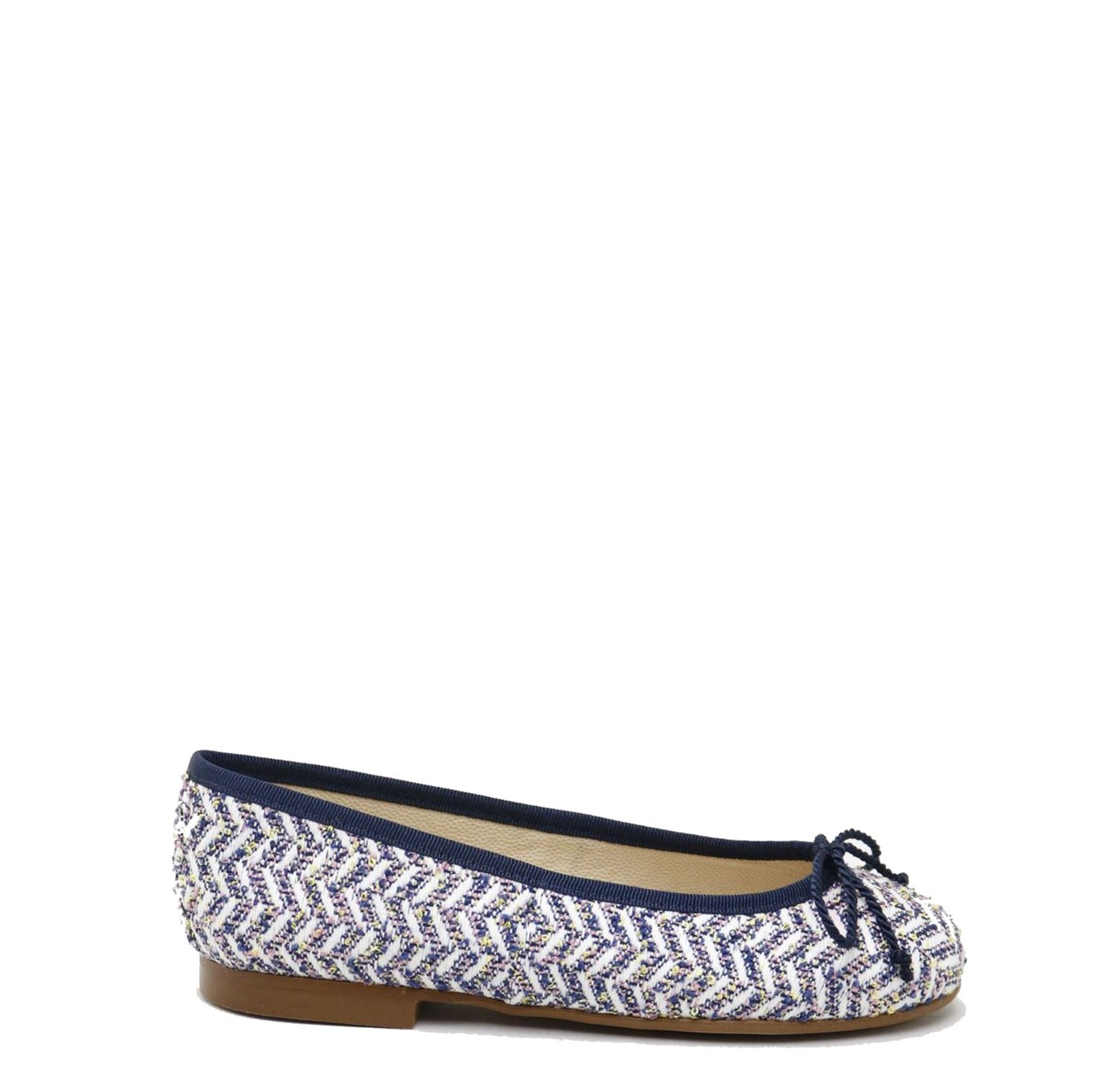 Papanatas Navy and White Tweed Bow Ballet Flat-Tassel Children Shoes