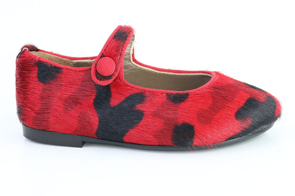 Papanatas Red Pony Hair Mary Jane-Tassel Children Shoes