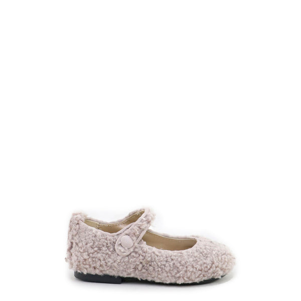 Papanatas Nude Shearling Fur Mary Jane-Tassel Children Shoes