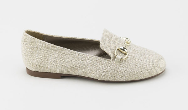 Papanatas Gold Linen Smoking Slipper-Tassel Children Shoes