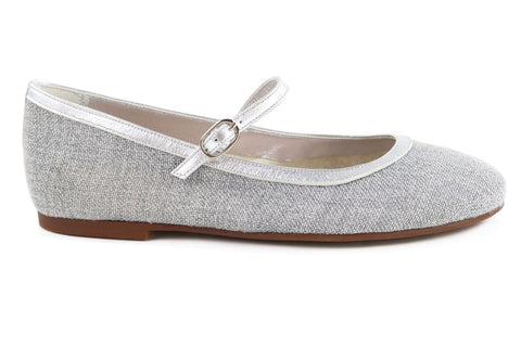 Papanatas Silver Linen Mary Jane-Tassel Children Shoes