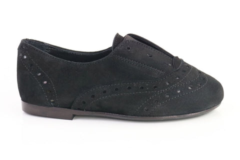 Papanatas Black Suede Slip-on Oxford-Tassel Children Shoes
