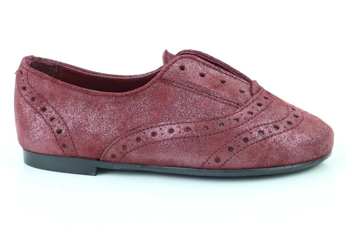 Papanatas Burgundy Shimmer Slip-on Oxford-Tassel Children Shoes