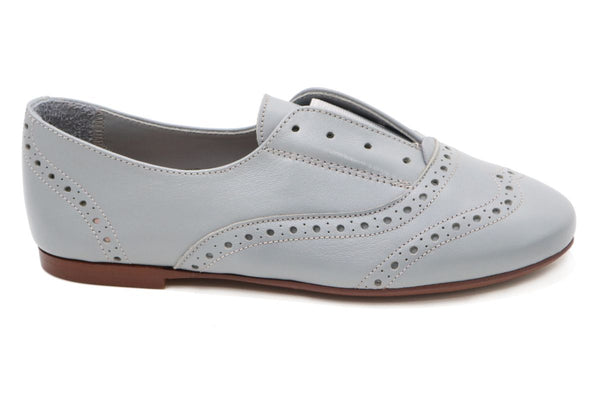 Papanatas Gray Leather Slip-On Oxford-Tassel Children Shoes