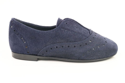 Papanatas Navy Suede Slip-on Oxford-Tassel Children Shoes
