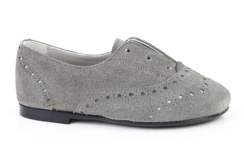 Papanatas Gray Suede Slip-on Oxford-Tassel Children Shoes