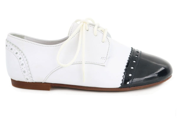 Papanatas White and Black Oxford-Tassel Children Shoes