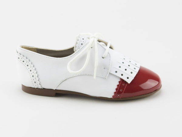 Papanatas White/Red Fringe Oxford-Tassel Children Shoes