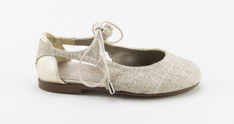 Papanatas Gold Linen Open Lace-Tassel Children Shoes