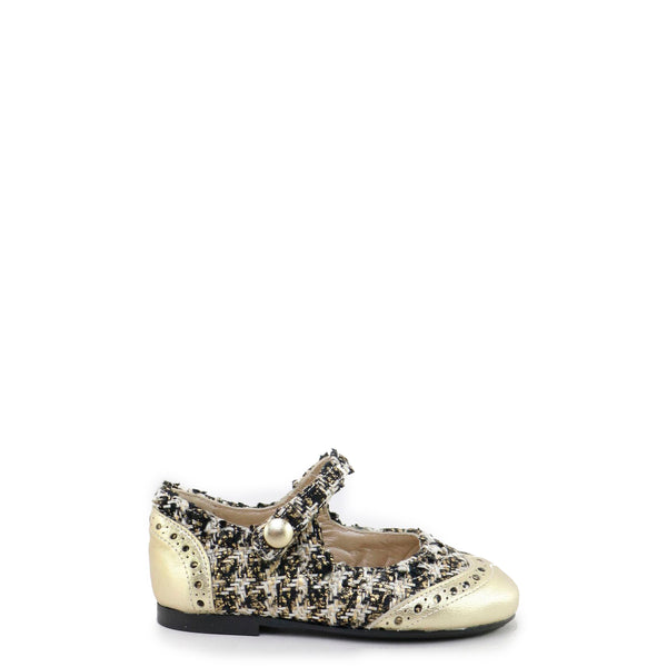 Papanatas Gold and Black Tweed Wingtip Mary Jane-Tassel Children Shoes