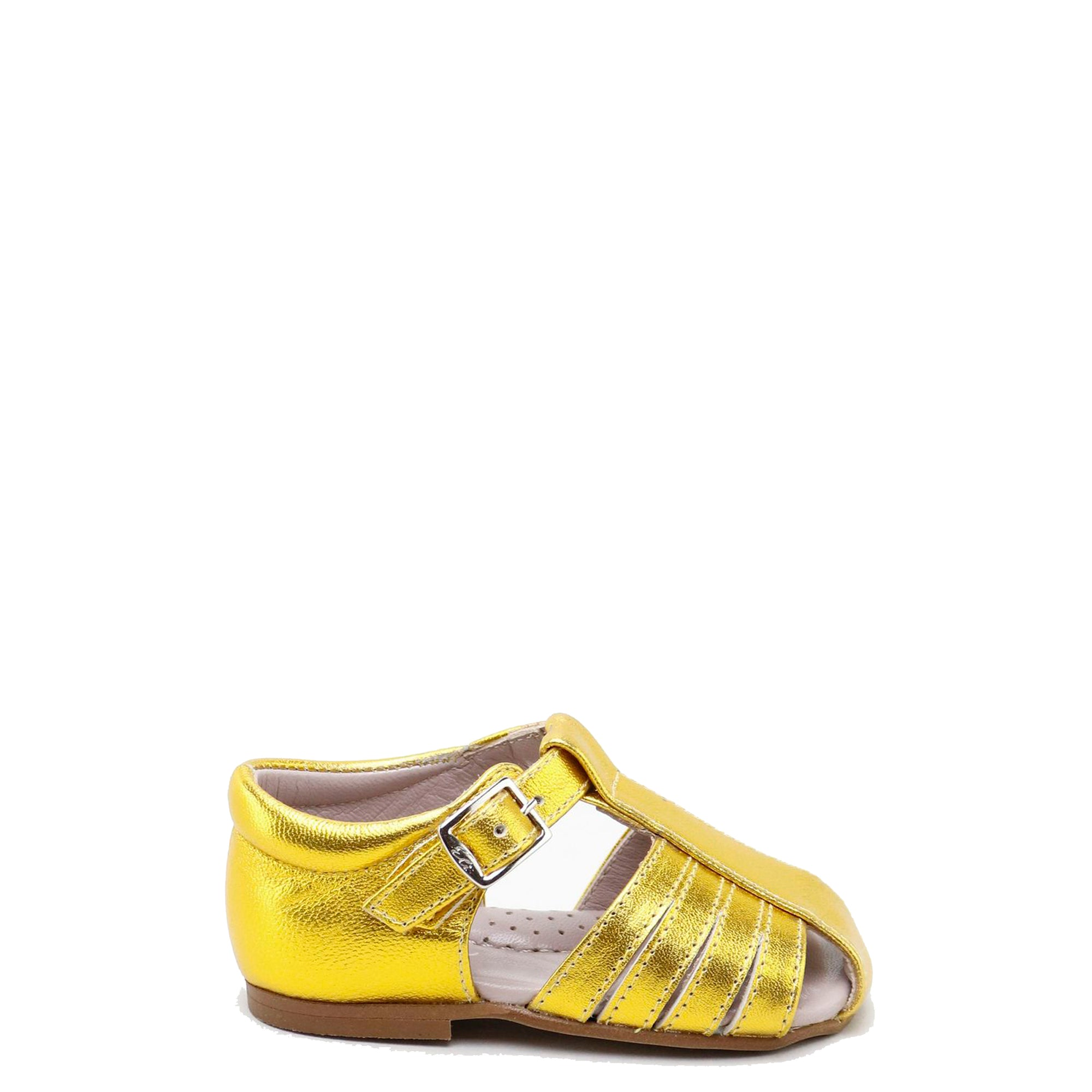 Papanatas Yellow Gold Closed Toe Sandal-Tassel Children Shoes