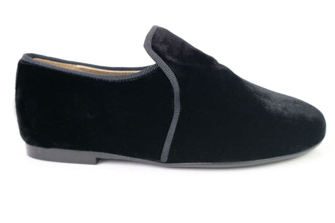 Papanatas Black Velvet Smoking Loafer-Tassel Children Shoes