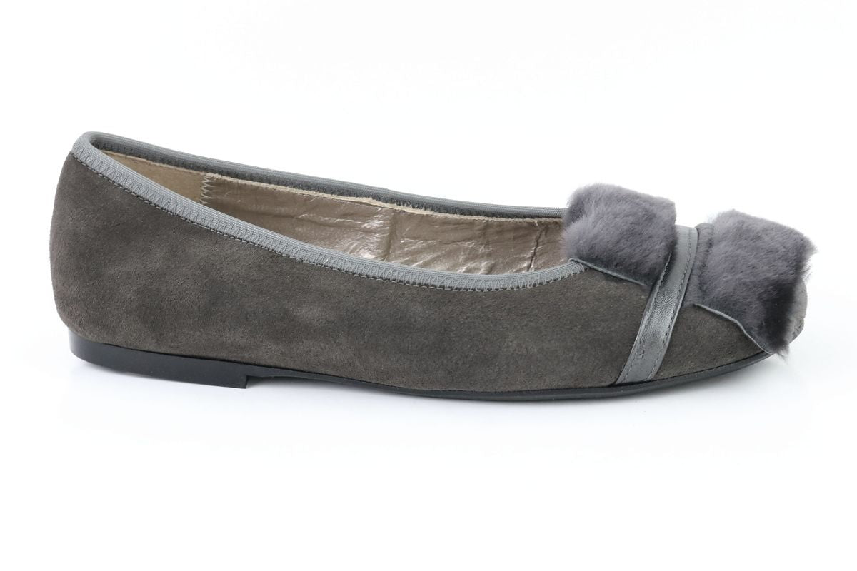 Papanatas Gray Suede Ballet-Tassel Children Shoes