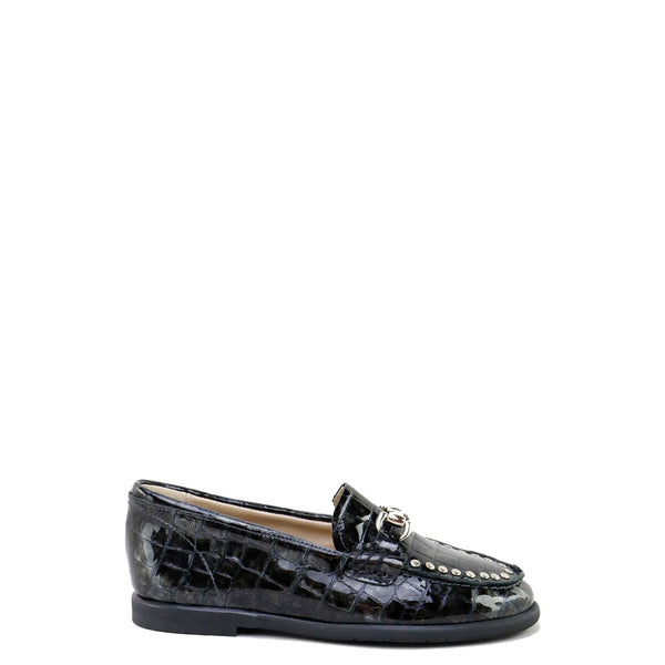 Papanatas Gray Croc Studded Buckle Loafer-Tassel Children Shoes