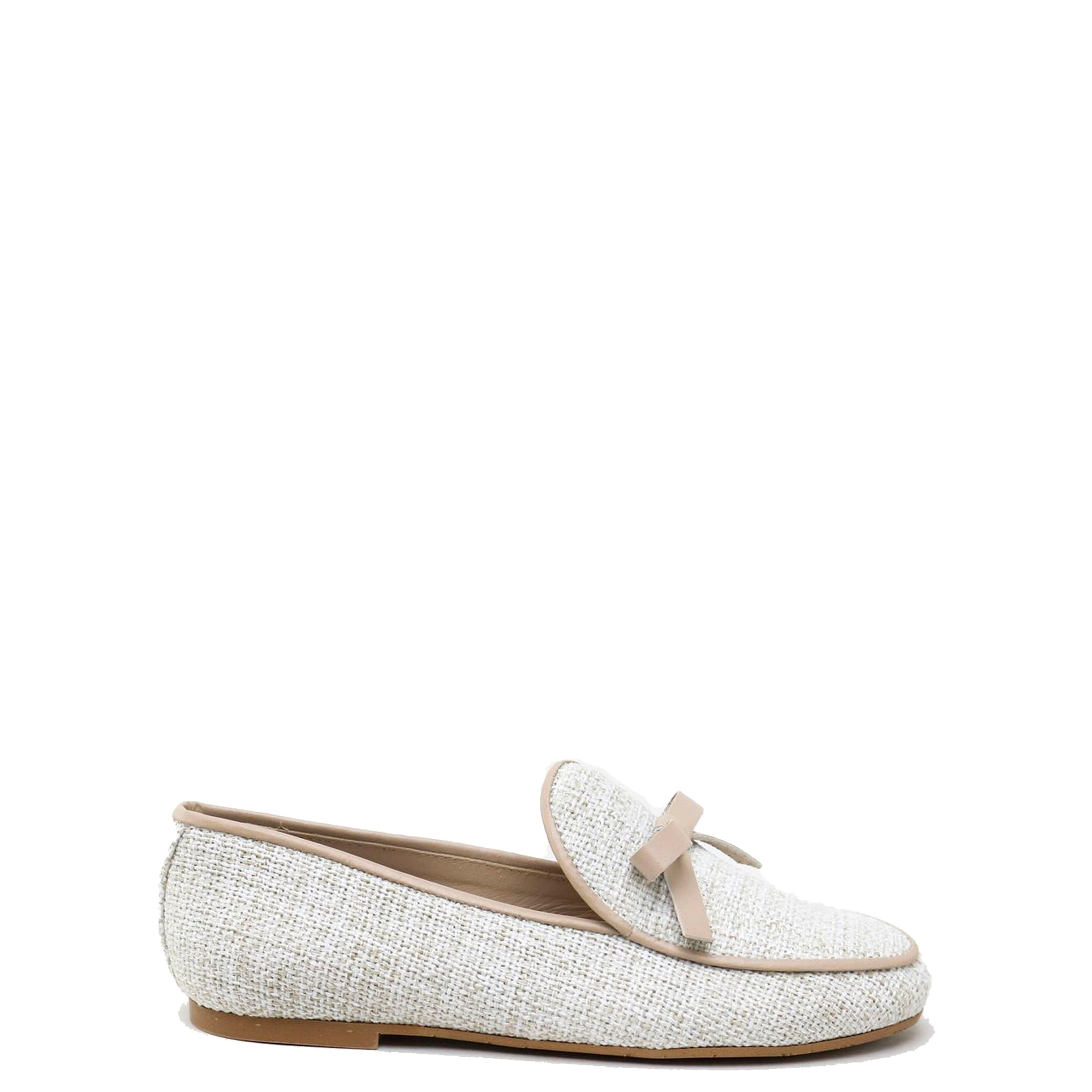 Papanatas Taupe Linen Bow Loafer-Tassel Children Shoes