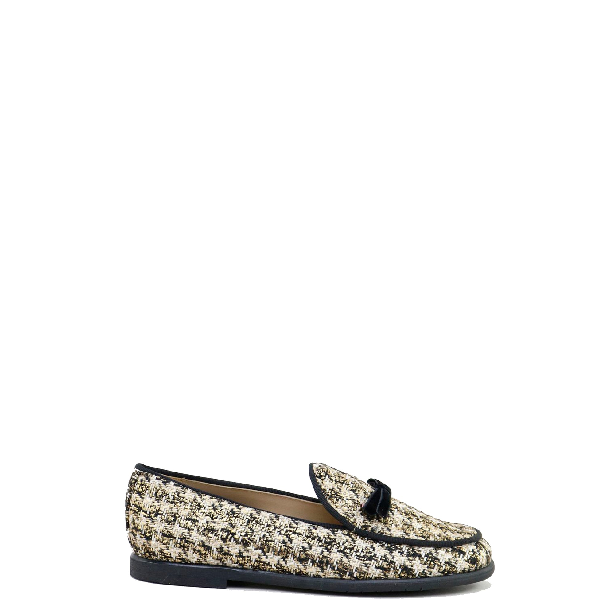 Papanatas Gold and Black Tweed Bow Loafer-Tassel Children Shoes