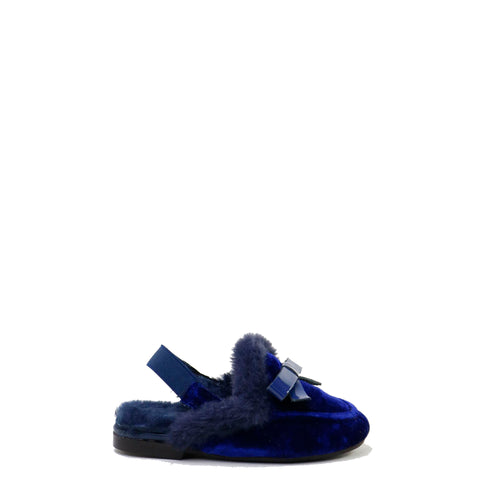 Papanatas Navy Velvet and Fur Mule-Tassel Children Shoes