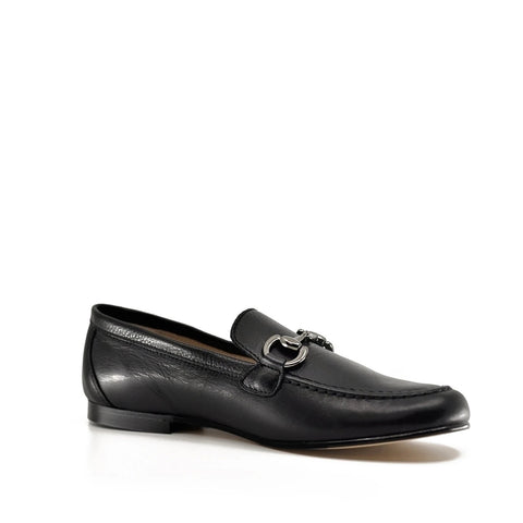 Hoo Black Leather Chain Slip-On Dress Shoe-Tassel Children Shoes
