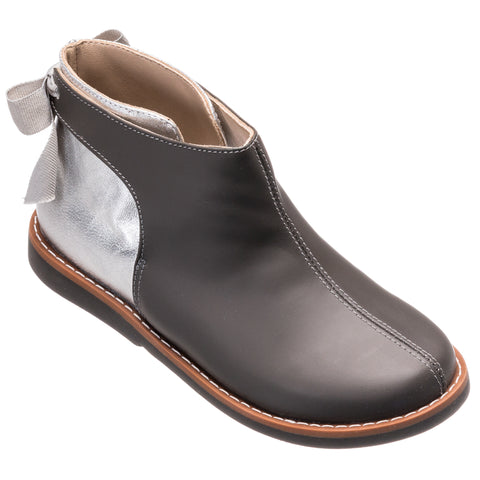Elephantito Gray Bow Bootie-Tassel Children Shoes