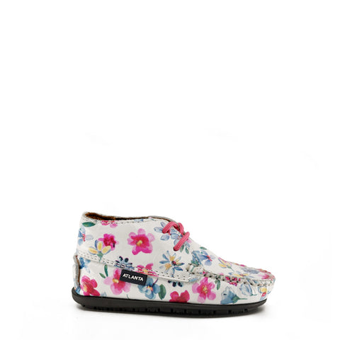 Atlanta Mocassin White Floral Bootie-Tassel Children Shoes