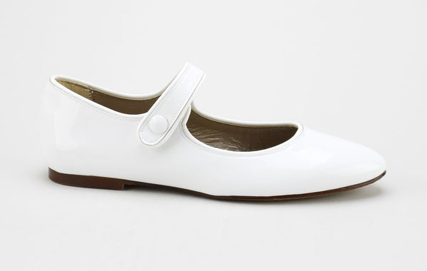 Papanatas White Patent Pointed Mary Jane-Tassel Children Shoes