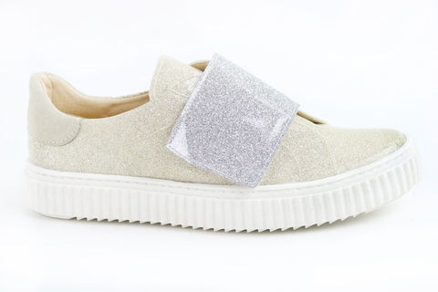 Papanatas Silver and Gold Patent Velcro Sneaker-Tassel Children Shoes