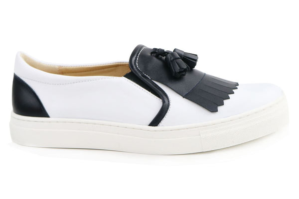 Papanatas Black and White Tassel Sneaker-Tassel Children Shoes