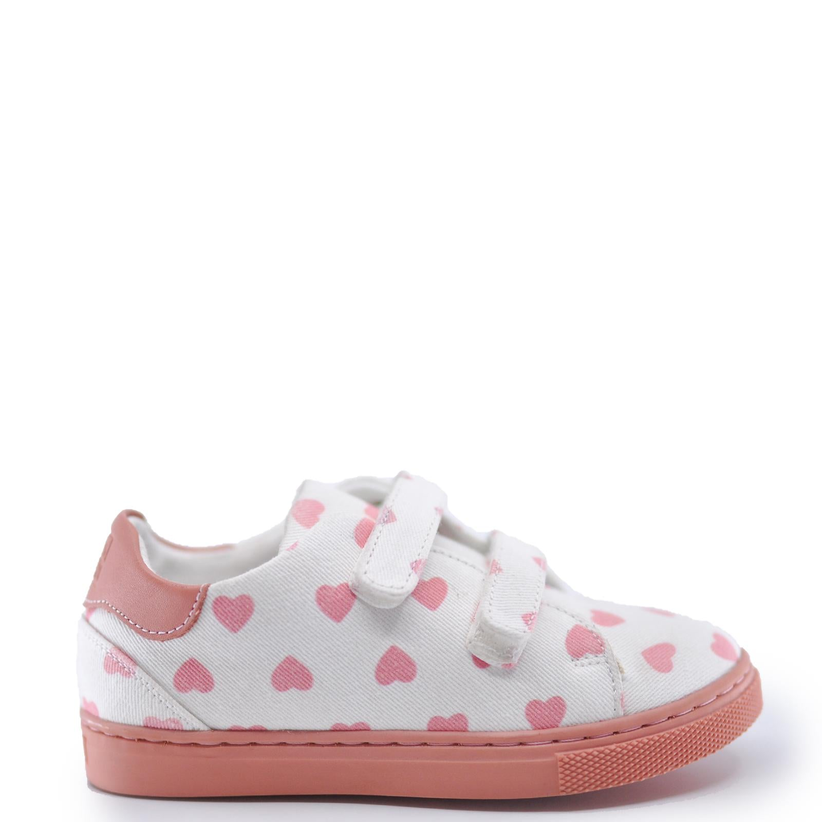 BONTON Pink Hearts Velcro Sneaker-Tassel Children Shoes