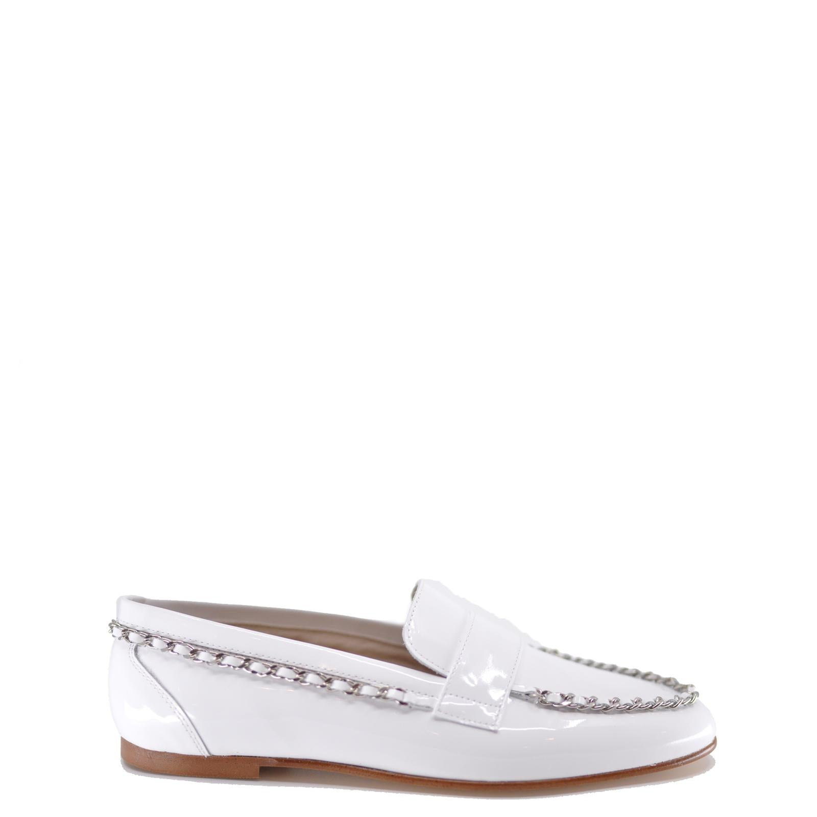 Hoo White Patent Chain Loafer