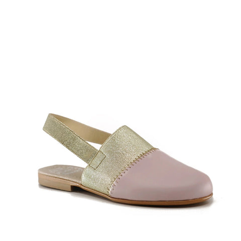 Hoo Pink and Gold Elastic Mule-Tassel Children Shoes